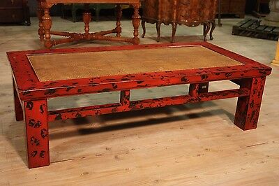 SCENOGRAPHIC TABLE LOW LIVING ROOM EASTERN WOOD LACQUERED PERIOD '900 L 161 cm
