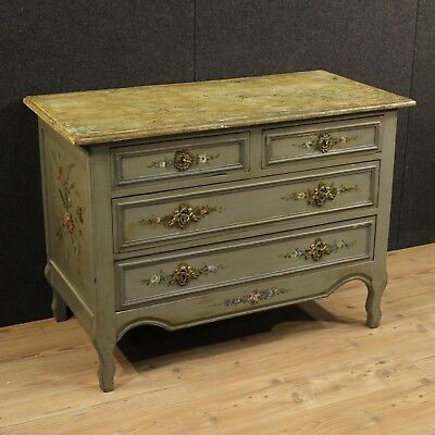 Dresser French Lacquered Imitation Marble Painted Blossom France First '900