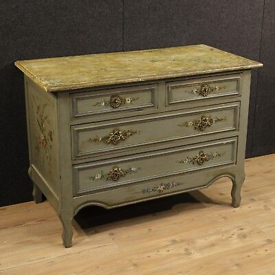 Dresser chest of drawers commode french wood lacquered fake marble antique 900
