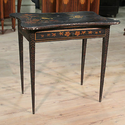 Lovely Small Table Secretary Desk Wood Lacquered Painted Chinoiserie France '900