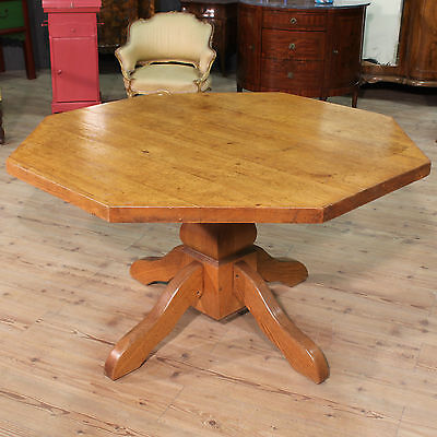 DINING TABLE RUSTIC OCTAGONAL OAK NORTH EUROPE PERIOD '900 (L 130 cm)