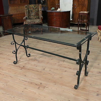 GRANDE DINING TABLE ALSO EXTERNAL IRON LEVEL GLASS PERIOD '900 L 168cm