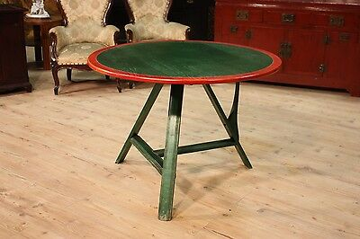 GRANDE TABLE ROUND SAILING NORTH EUROPE PAINTED GREEN RED YEARS '80 D 105,5 cm