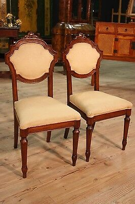 COUPLE CHAIRS chairs CARVED WOOD OAK ENGLAND PERIOD '800 H 102 cm