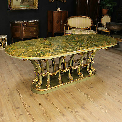 Spectacular Table Wood Lacquered Golden Imitation Marble Italy Period '900 L 220