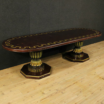 Grande Table Wood Lacquered Golden Painted Decoration Spain Period Half '900