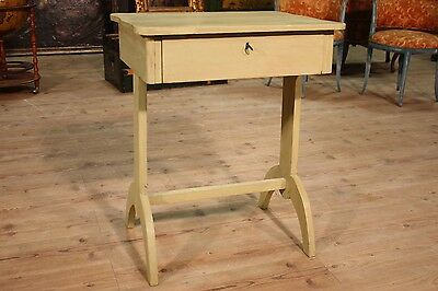 Delightful Small Table Secretary Desk With Drawer Painted Green Period '900 H 81