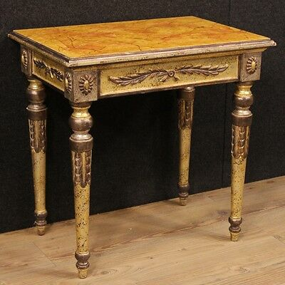 Low bedside table lacquered furniture golden cabinet fake marble antique style