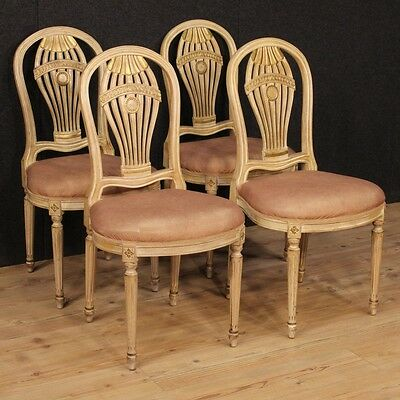 Group Quattro Chairs Lacquered Style Louis Xvi 4 Chairs Seats France Period 900