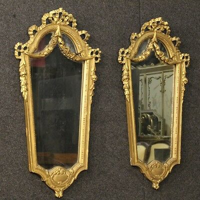 Couple Mirrors Golden Appliques Italian Furniture Wood Paint Mirrors 900