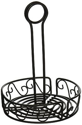 Winco WBKH-6R Round Wire Condiment Caddy, 6.25-Inch, Black