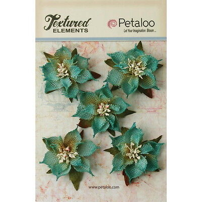 Textured Burlap TEAL Poinsettias x 5 flowers with Leaves 5-6cm across Petaloo BO