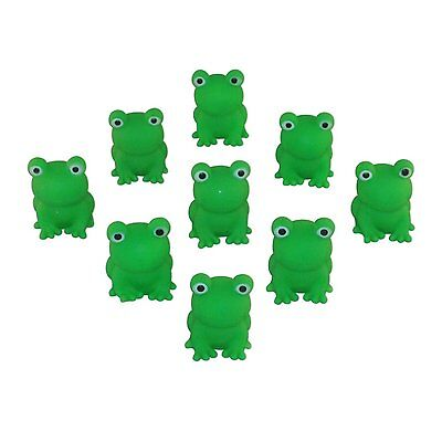 Passover Frogs - 9 Plastic Squeaking Frogs, Soft Plastic Bright Green Plague by