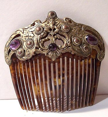 antique nouveau jeweled hair comb ornament embossed brass amethyst gems large