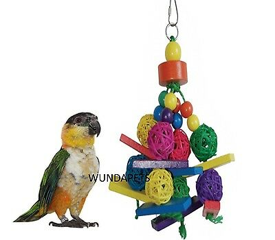 Lazybones 23Cm Medium Colour Parrot Cage Toy With Wood Beads Wicker & Sisal Lb85