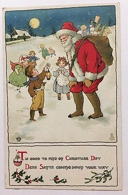 Tuck Santa Claus Christmas Postcard Series No 549 Children Stockings RODNEY ON