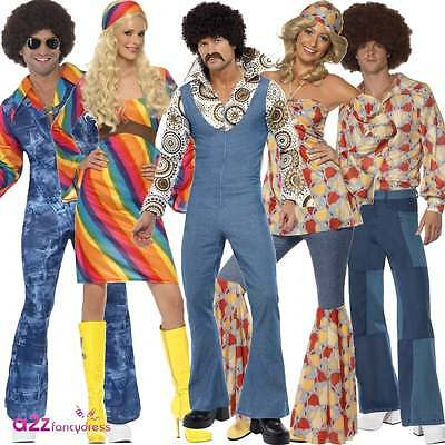 70s 60s Disco Fever Retro Hippie Hippy Adult Mens Womens Fancy Dress Costume New