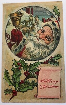 SANTA VINTAGE POSTCARD Merry Christmas On The Roof With Reindeer  Bell