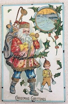 Old World Santa St Nicolas Shellac  Very Colourful Suit Lots Of Toys Christmas
