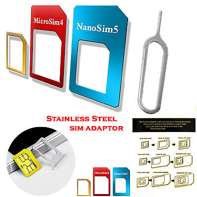 4 In 1 Pack Stainless Steel Sim Card Adapter Set For Blackberry Q10