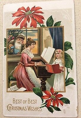 SANTA VINTAGE POSTCARD PIANO CHILD SINGING AS IS  Doll