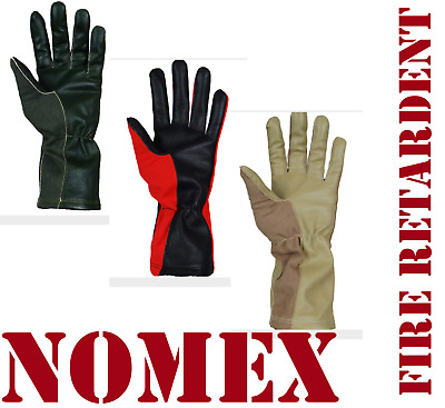 Nomex Gloves, Fire Resistant, Pilot, Racing, In Green,black,beige, Black Colors