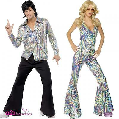 Adult 70s 70's Dancing Queen Retro Disco Catsuit Womens Mens Fancy Dress Costume