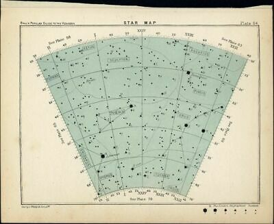 Star Map Constellations in Sky Pices Cetus Phoenix 1902 lovely Celestial print