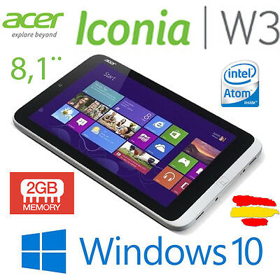 "Acer Iconia W3 8.1"" Tablet Intel Atom 1.8GHz 2GB Ram 32GB SSD Windows 10"