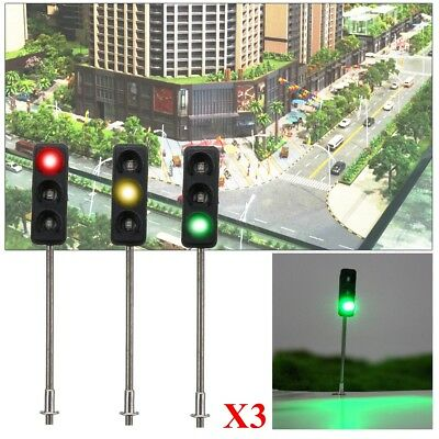 3x 50mm HO / OO Model 3-Light Traffic Lights Signal Architecture Street Train