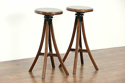 Pair Oak 1910 Antique Craftsman Swivel Adjustable Stools or Plantstands