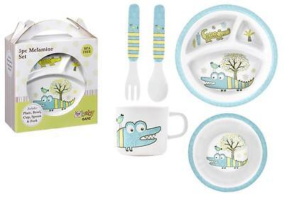 Child's ALLIGATOR Melamine Plate Set, Plate, Bowl, Cup, Spoon, Fork, by Ganz