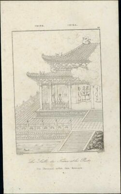 Throne Room Well China birdseye view 1837 charming antique engraved print
