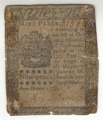 1775 9 Pence Continental Currency Note***ungraded***cabo