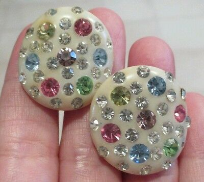 Vintage Bakelite Earrings Catalin Multi-colored Rhinestone Clip On Creme Button