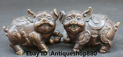 Chinese Feng Shui Bronze Auspicious Lovely Zodiac Year Animal Pig swine Statue