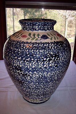 "Gail Pittman Large 17"" Whiteware (Blue Spongeware) Floor Vase"