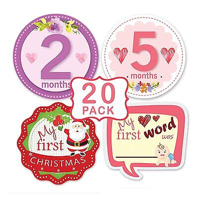 First Year Monthly & Holiday Milestone Stickers for Baby Girls by TurtleSurfers