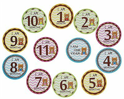 """MoM-me Baby Monthly Stickers 1-12 Months for Baby Boy or Baby Girl, 4"""" x 4"""""""