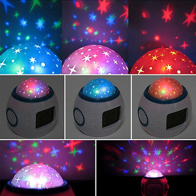 Sky Star Children Kids Room Night Light Projector Lamp Bedroom Music Alarm Clock