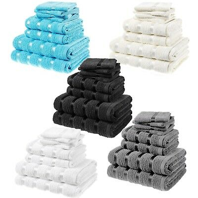 LUXURY 100% COTTON 8pc TOWEL BALE SET EGYPTIAN FACE HAND BATH BATHROOM TOWEL NEW