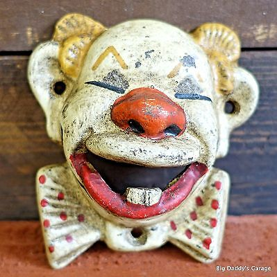 Clown Cast Iron Bottle Opener, Wall Mounted Antique Finish, Garage Bar Man Cave