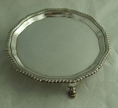 Fine Edwardian Solid Silver Card Tray Or Salver - London 1910