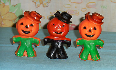vintage Halloween GURLEY CANDLE LOT OF 3 small scarecrow jack-o-lantern head man