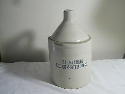 Antique Vintage 1 Gallon Stoneware Advertising Bethlehem Liquor & Bottling Jug