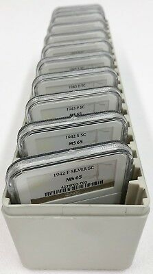 1942-1945 P/D/S Silver War Nickel Jefferson 5C Complete Set of 11 Coins NGC MS65
