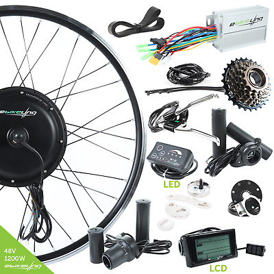 "48V 1200W Direct Drive Front&Rear 26"" Electric Bicycle Conversion Kit Ebikeling"