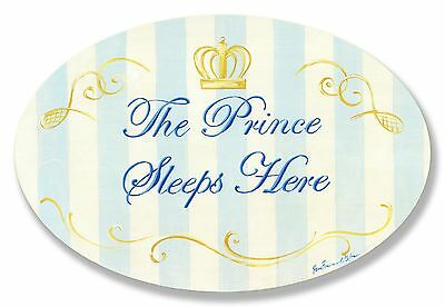 The Kids Room by Stupell The Prince Sleeps Here Blue and White Stripes wi... New