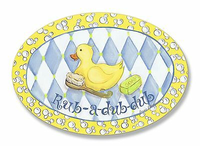 The Kids Room by Stupell Rub-a-dub-dub Rubber Ducky Oval Wall Plaque New
