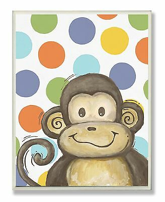 The Kids Room by Stupell Lil Buddy Monkey with Polka Dots Rectangle Wall ... New